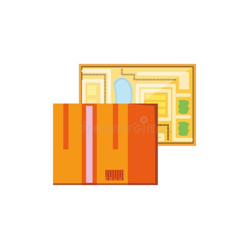 Cartón de la caja con la guía del mapa stock de ilustración