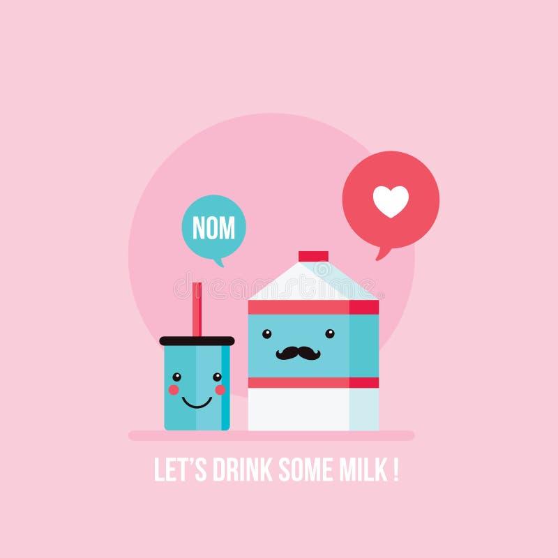 Cartón de la leche del bigote del inconformista y fondo feliz de cristal lindo de la cara stock de ilustración
