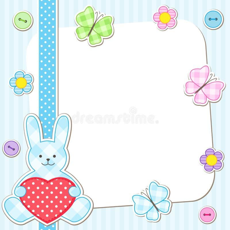 Cartões azuis dos coelhos ilustração do vetor