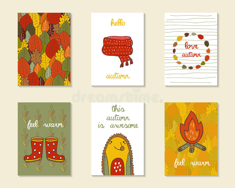 Cartões bonitos do outono da garatuja, folhetos ilustração stock