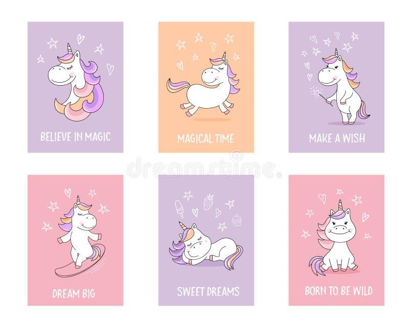 Cartões bonitos do unicórnio com citações e símbolos mágicos ilustração royalty free