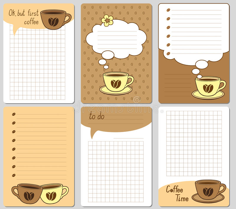 Cartões bonitos do vetor Notas, etiquetas, etiquetas, etiquetas com copos engraçados e corações Projete para o papel do ofício, á ilustração stock