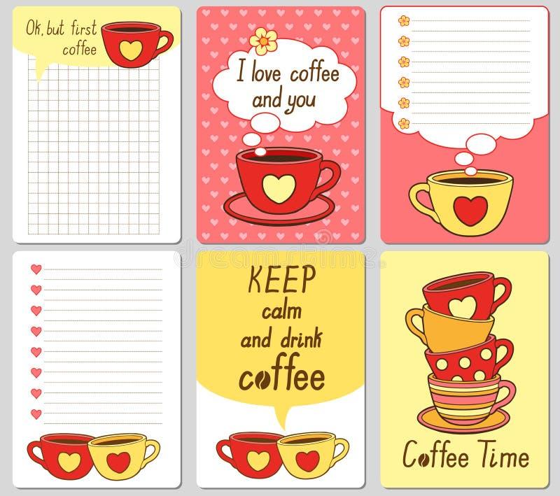 Cartões bonitos do vetor Notas, etiquetas, etiquetas, etiquetas com copos engraçados e corações Projete para o papel do ofício, á ilustração do vetor