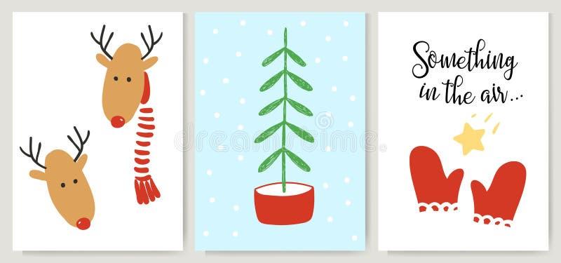 Cartões bonitos do Xmas, cartazes, rotulação no estilo dos desenhos animados Árvore dos cervos, de Natal e mitenes vermelhos ilustração do vetor