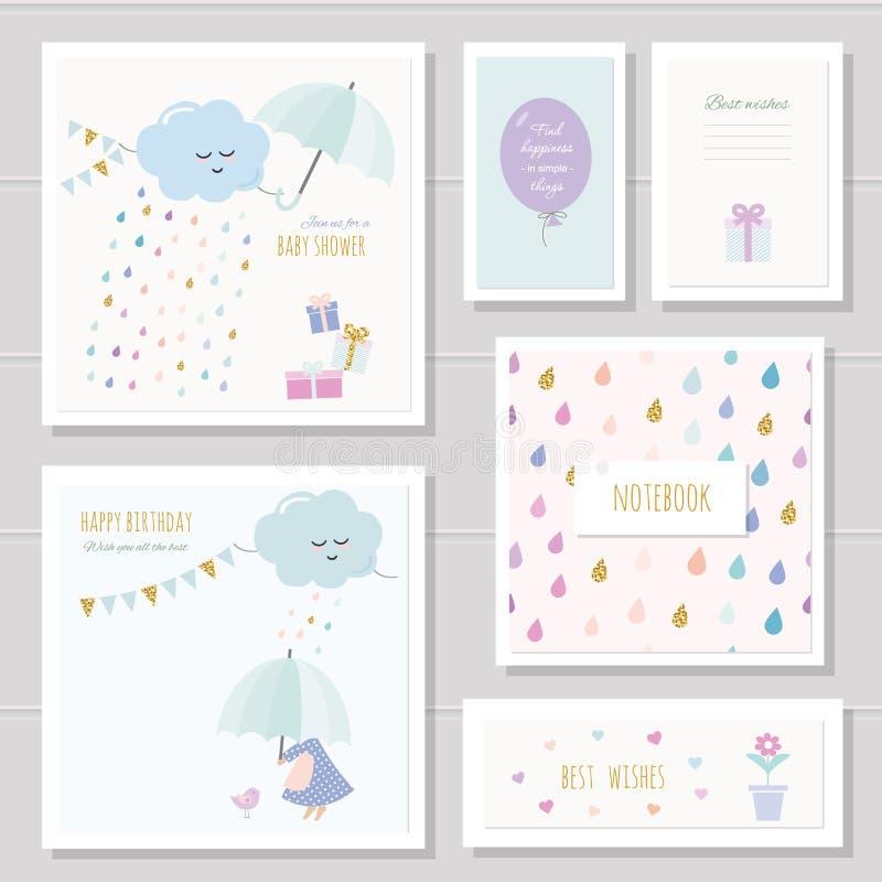 Cartões bonitos para meninas Pode ser usado para a festa do bebê, aniversário, roupa dos bebês, projeto da tampa do caderno Estil ilustração do vetor