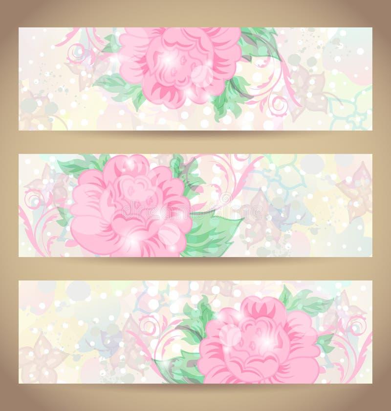 Cartões bonitos românticos ajustados com flor ilustração royalty free