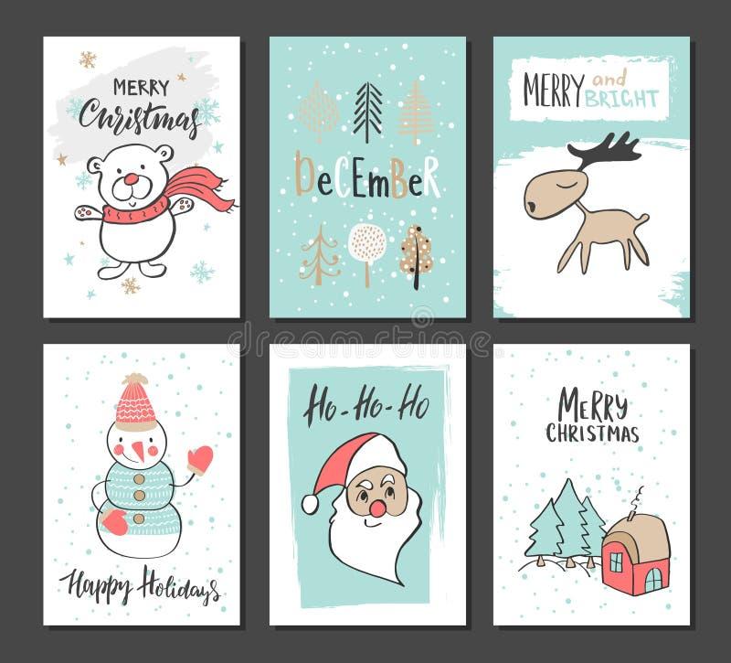 Cartões bonitos tirados mão do Natal com urso, árvores, rena, boneco de neve, Santa Claus e outros artigos Ilustração do vetor ilustração do vetor