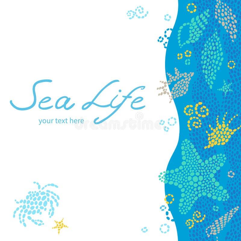 Cartões brilhantes do convite com elementos do mar ilustração royalty free