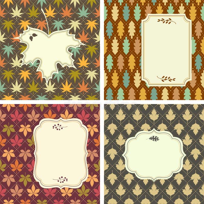 Cartões coloridos das folhas ilustração do vetor