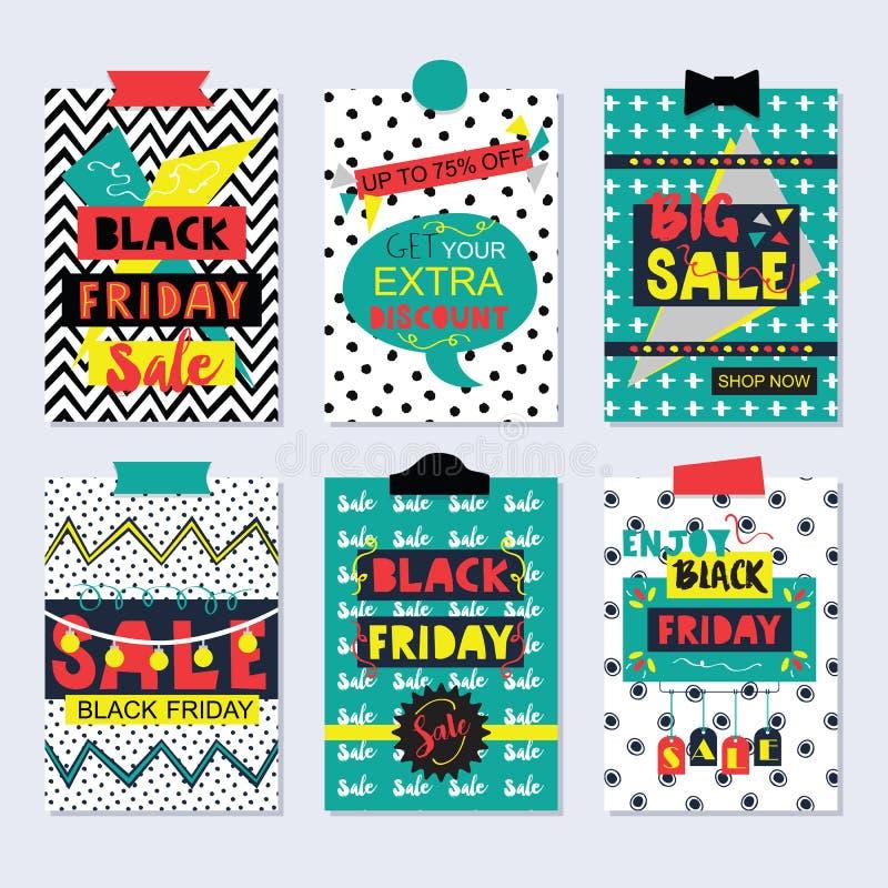 Cartões coloridos e funky e ícones da venda de Black Friday ajustados ilustração stock