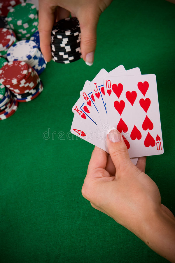 Cartões com arranjo do póquer fotos de stock royalty free