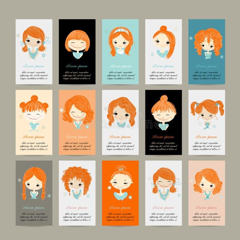 Cartões com as meninas bonitos para seu projeto ilustração stock