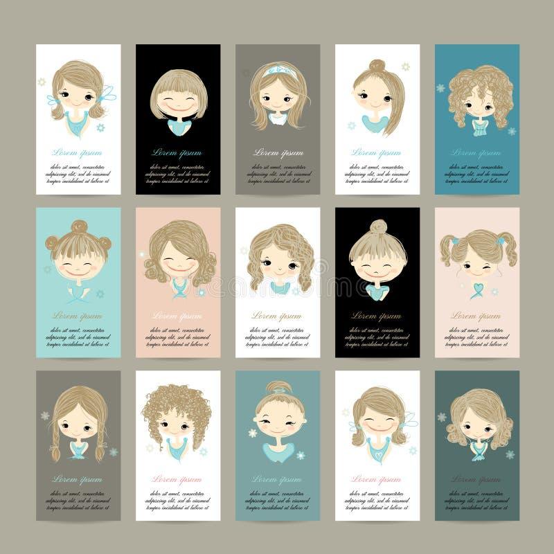 Cartões com as meninas bonitos para seu projeto ilustração do vetor