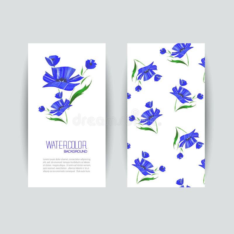 Cartões com as papoilas abstratas azuis da aquarela ilustração stock