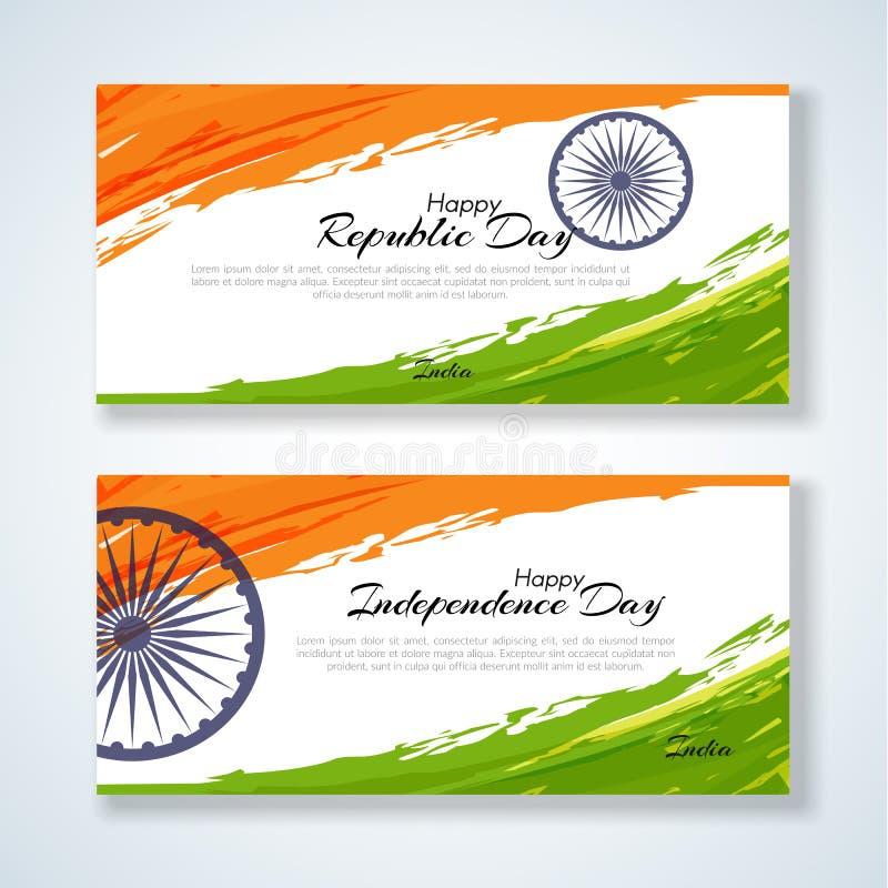 Cartões com o dia da república do texto e o Dia da Independência de fundo do Grunge da Índia com cor da bandeira nacional do mold ilustração do vetor