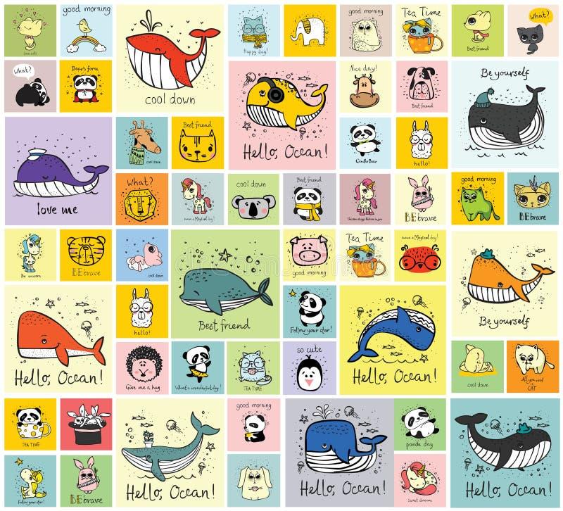 Cartões com os animais felizes bonitos selvagens, domésticos e de exploração agrícola ilustração royalty free