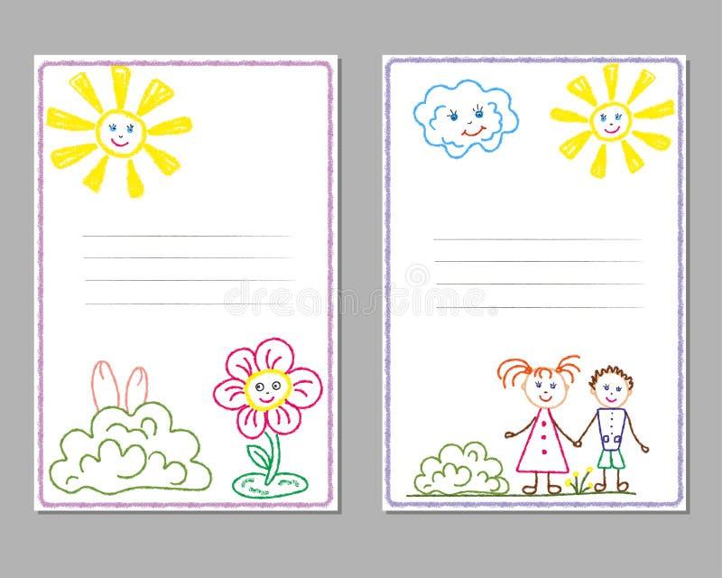 Cartões com os desenhos de lápis das crianças, com a imagem do sol, crianças, flores, amizade ilustração royalty free