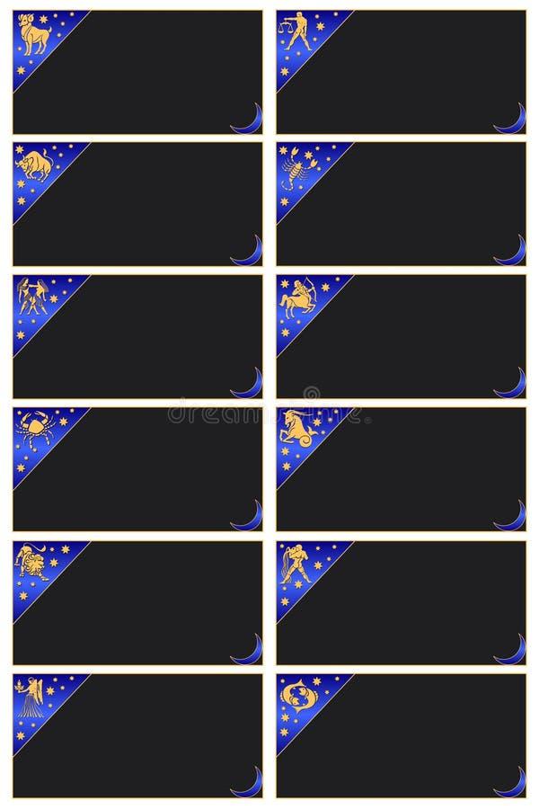 Cartões com os sinais do zodíaco ilustração royalty free