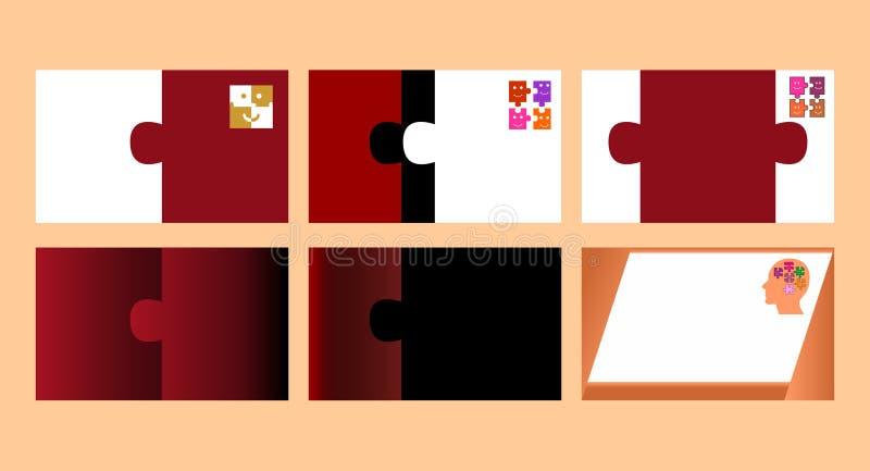 Cartões com projeto do enigma ilustração do vetor