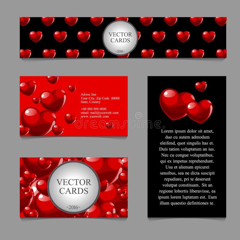 Cartões com textura volumétrico dos corações ilustração do vetor