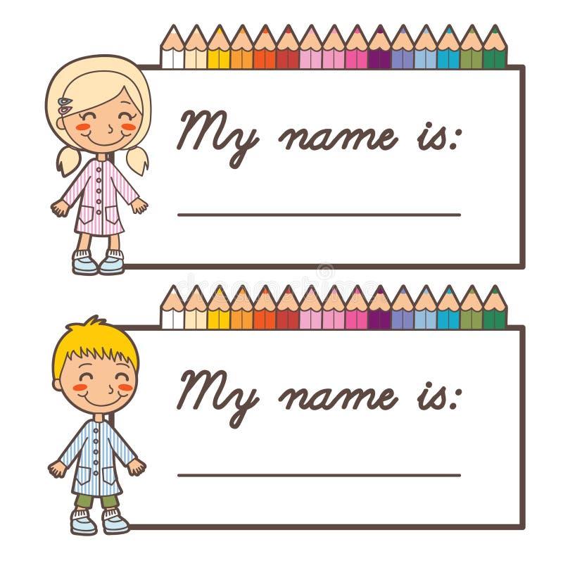 Cartões conhecidos do estudante da escola ilustração stock