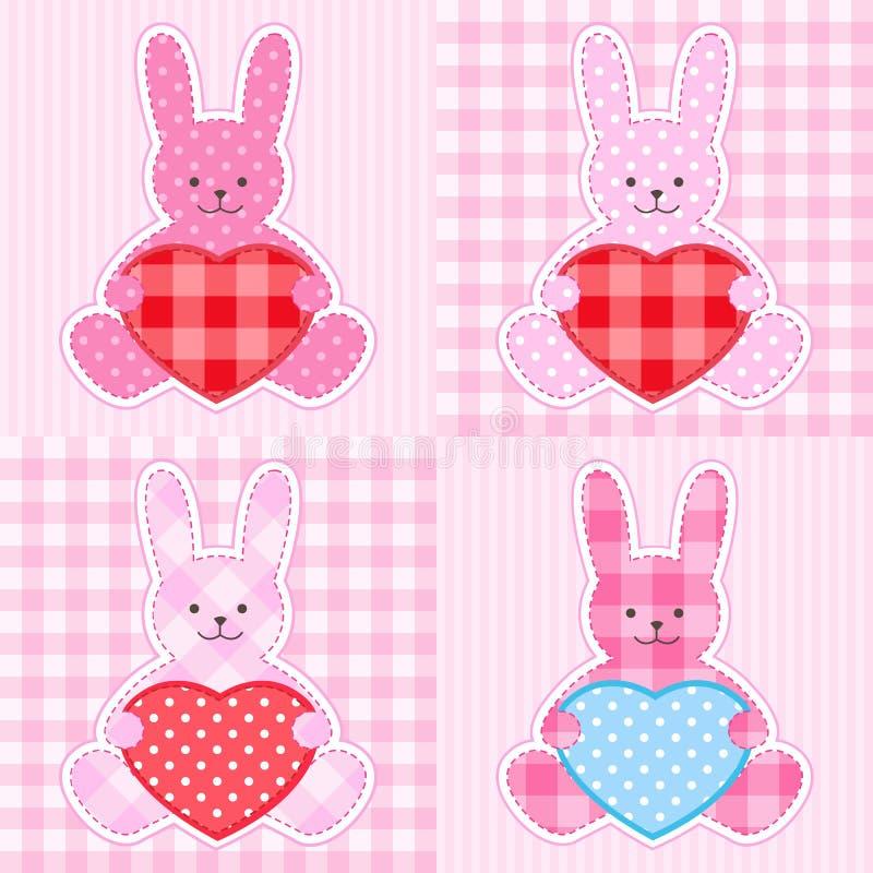 Cartões cor-de-rosa dos coelhos ilustração do vetor