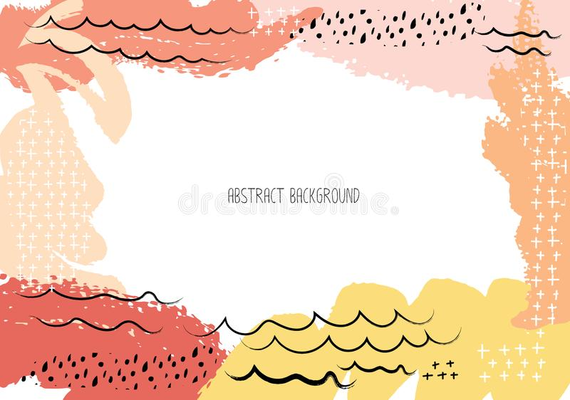 Cartões criativos artísticos com cursos da escova, fundo abstrato do curso da escova ilustração do vetor