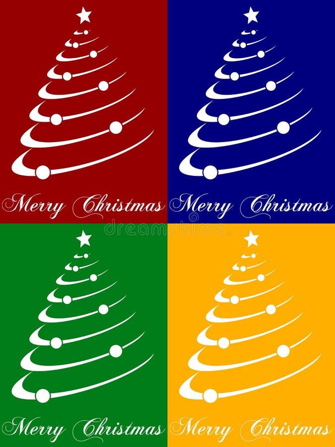 Cartões da árvore de Natal ilustração do vetor