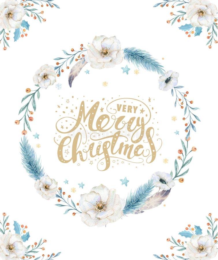 Cartões da aquarela do Feliz Natal com elementos florais Cartazes da rotulação do ano novo feliz Flor e ramo do xmas do inverno ilustração royalty free