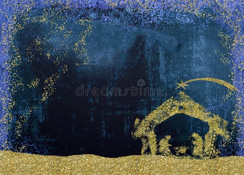 Cartões da cena da natividade do Natal fotos de stock royalty free