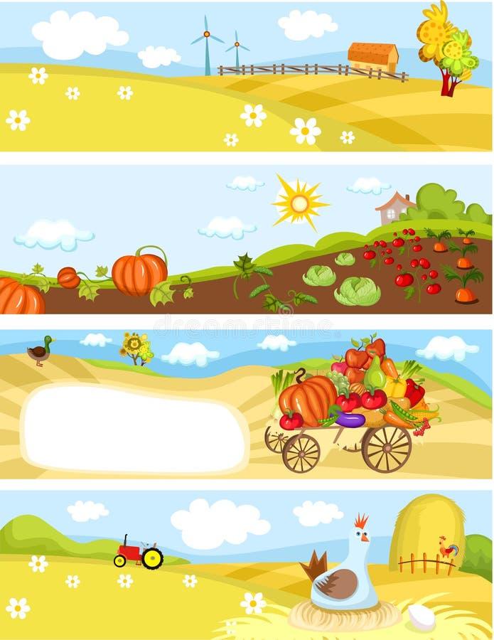 Cartões da exploração agrícola ilustração royalty free
