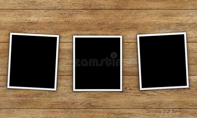 Cartões da foto no fundo de madeira ilustração do vetor