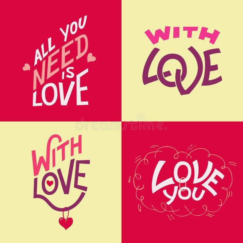 Cartões da mão-rotulação do dia de Valentim ilustração stock