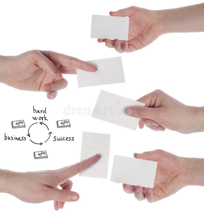 Cartões da posse das mãos no fundo branco fotografia de stock