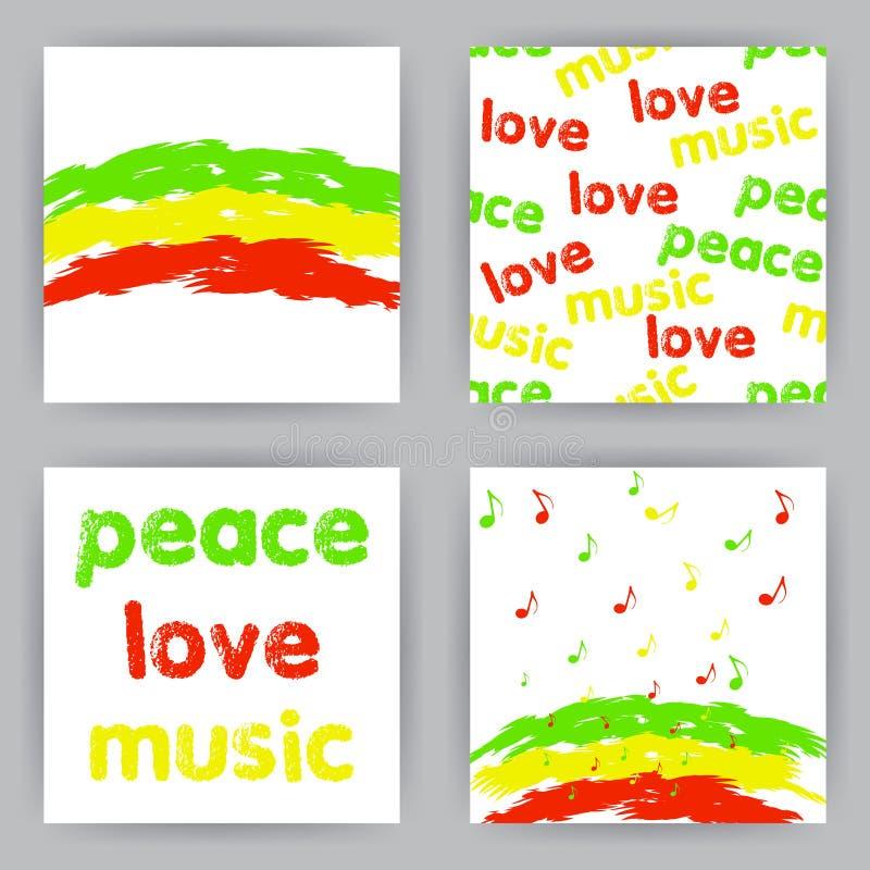 Cartões da reggae ilustração do vetor