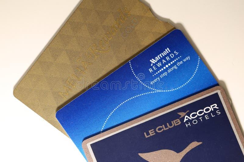 Cartões das recompensas da sociedade do hotel: Cartão das recompensas de Marriott, Melia Rewards Gold Card, cartão da platina dos imagem de stock royalty free