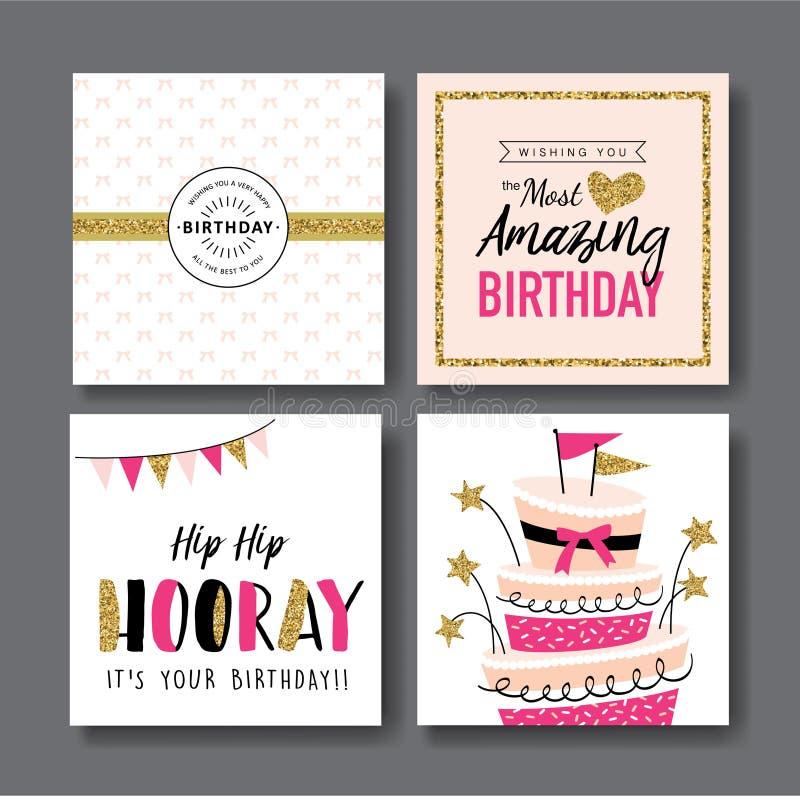 Cartões de aniversário ilustração stock