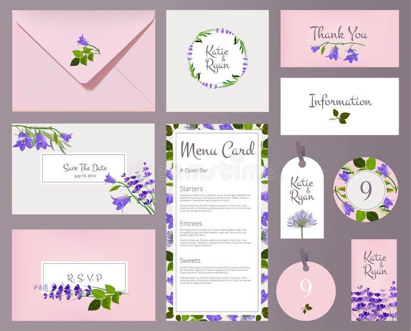 Cartões de casamento florais A flor floral convidada da decoração dos cartazes molda o molde do vetor ilustração royalty free