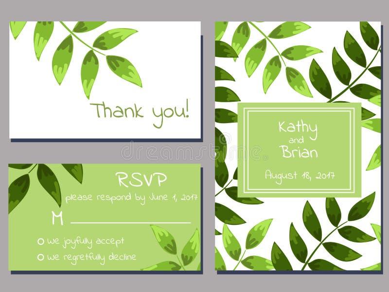 Cartões de casamento verdes ilustração royalty free