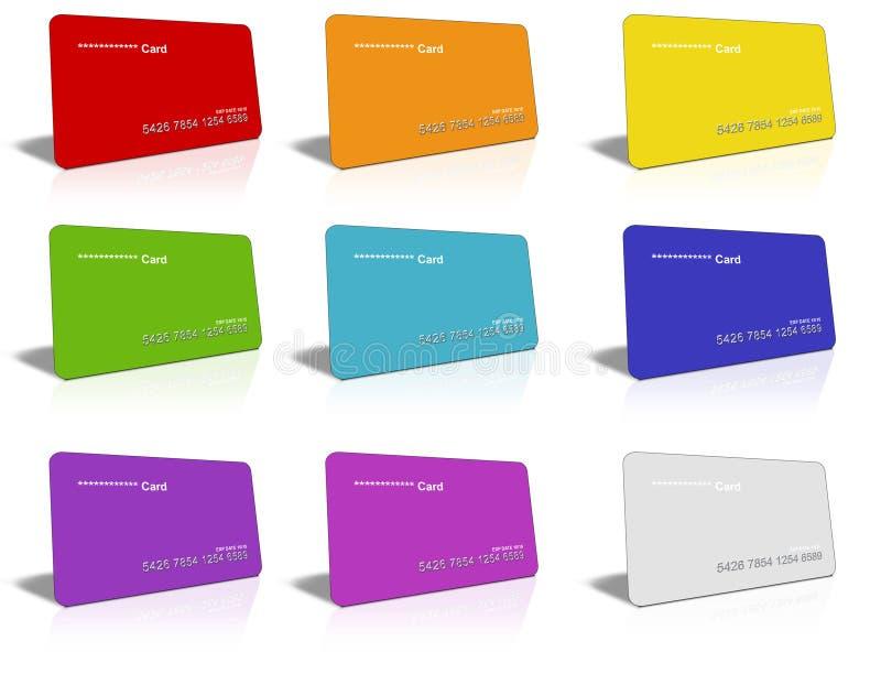 Cartões de crédito coloridos ilustração stock