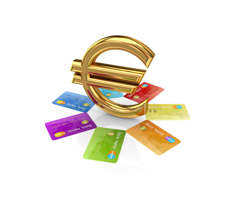 Cartões de crédito coloridos em torno do euro- sinal dourado. ilustração royalty free