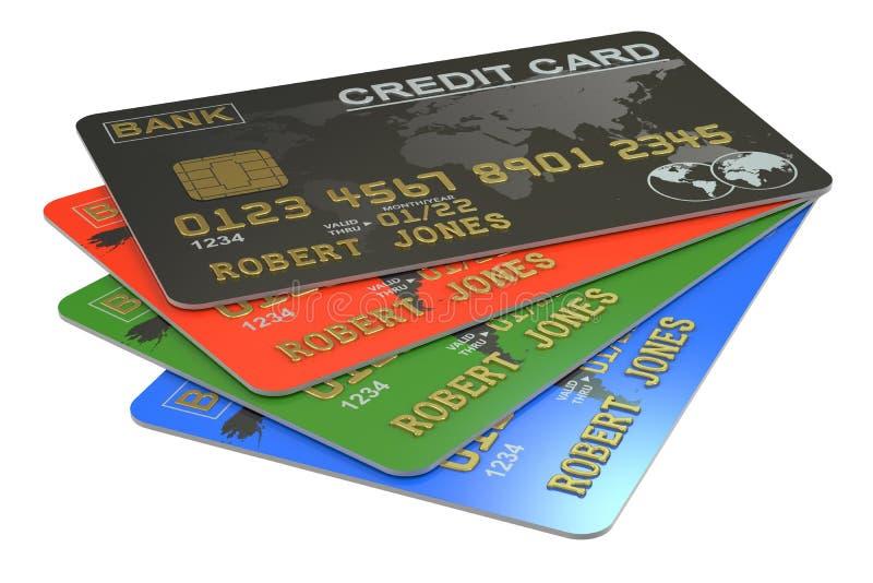 Cartões de crédito 3D ilustração do vetor