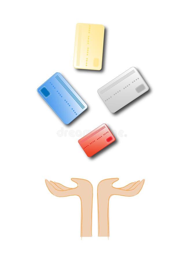 Cartões de crédito dos desenhos animados ilustração stock
