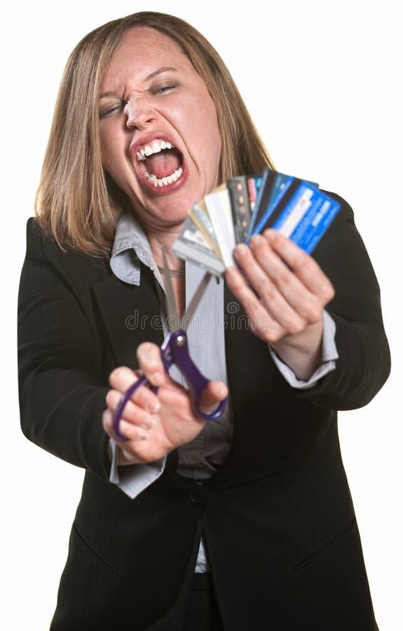 Cartões de crédito irritados da senhora Corte fotos de stock