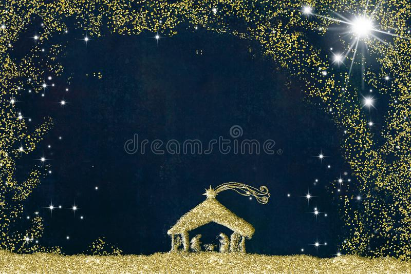 Cartões de cumprimentos da cena da natividade do Natal, desenho a mão livre abstrato da cena da natividade com brilho dourado, fu ilustração do vetor