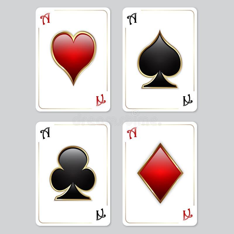 Cartões de jogo, ás ilustração do vetor