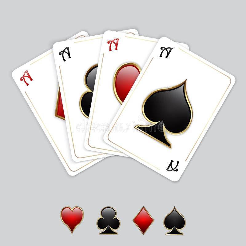 Cartões de jogo, áss ilustração royalty free
