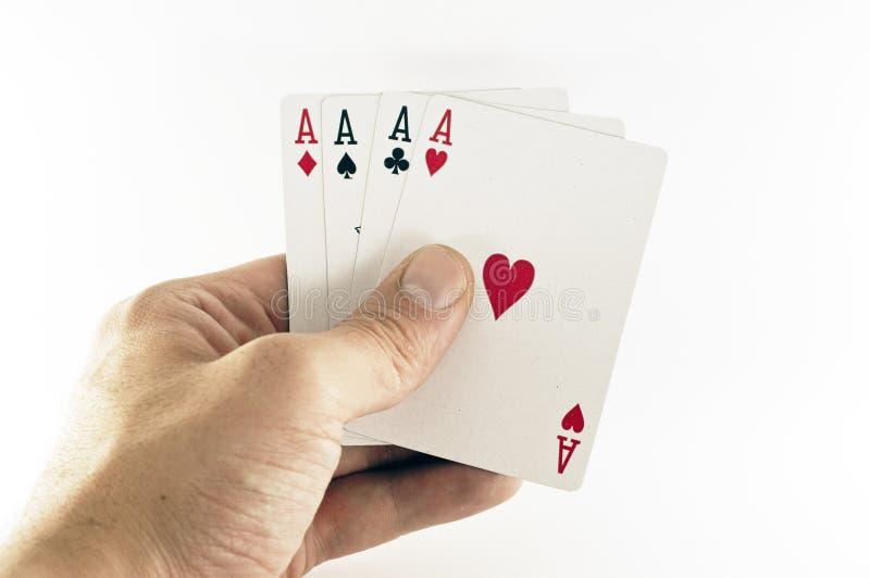 Cartões de jogo cheios do ás foto de stock royalty free