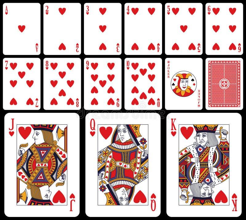 Cartões de jogo clássicos - corações ilustração do vetor