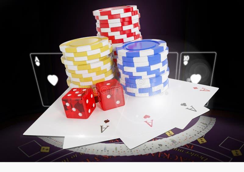 Cartões de jogo com microplaquetas de pôquer e dados sobre a tabela imagem de stock royalty free